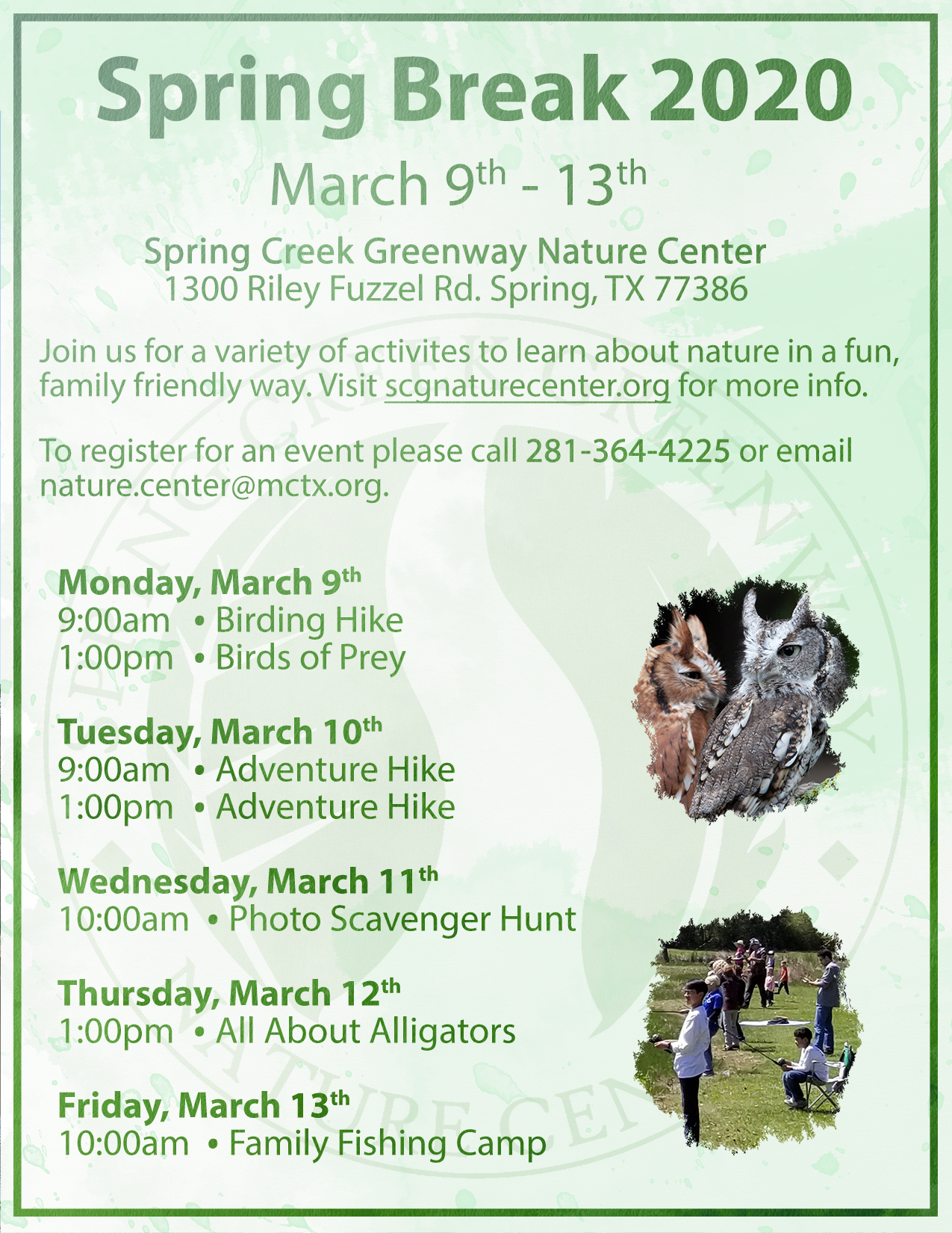 Spring Break Week 2020 Flyer